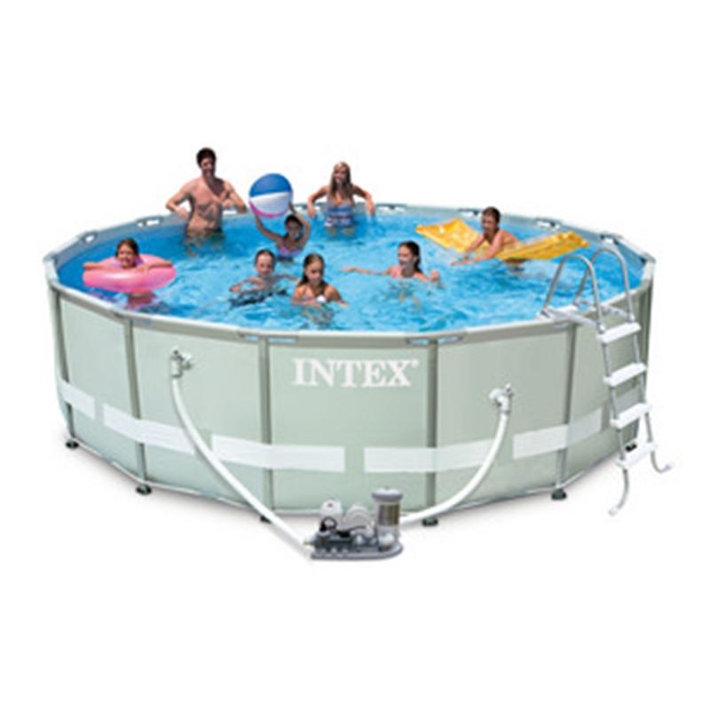 Vit29991 intex piscina tonda ultraframe telaio autoportante con pompa filtro - Piscina intex tonda ...